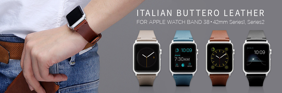 高級感のあるイタリアンブッテーロレザー使用のApple Watchバンド