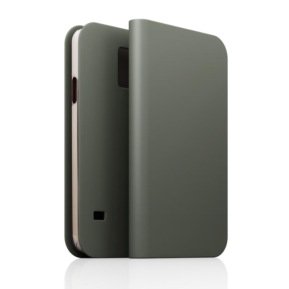 [GALAXY S5] D5 Calf Skin Leather Diaryグレー