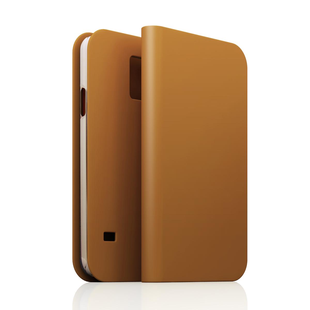[GALAXY S5] D5 Calf Skin Leather Diaryタンブラウン