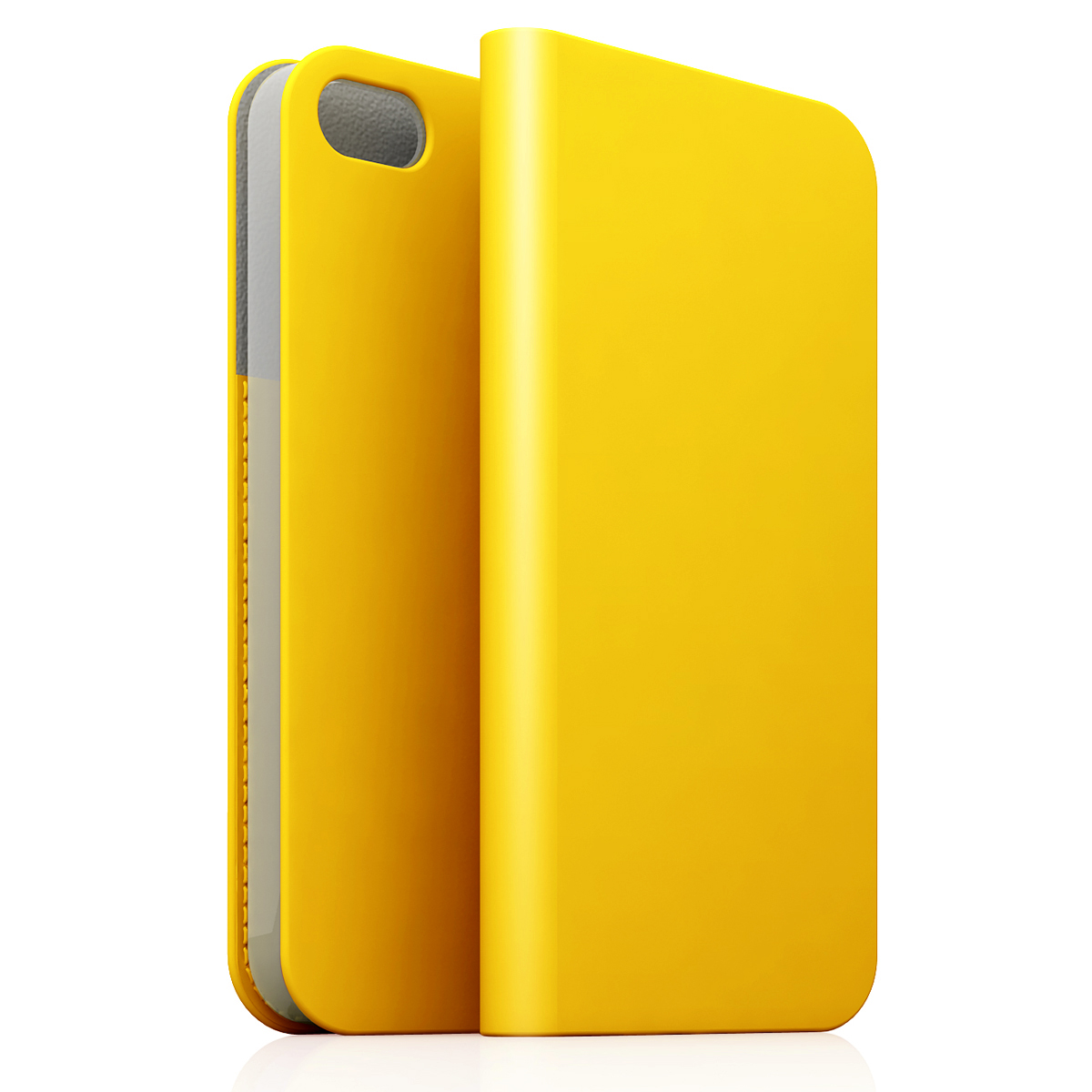 [iPhone5c] D5 Calf Skin Leather Diary イエロー