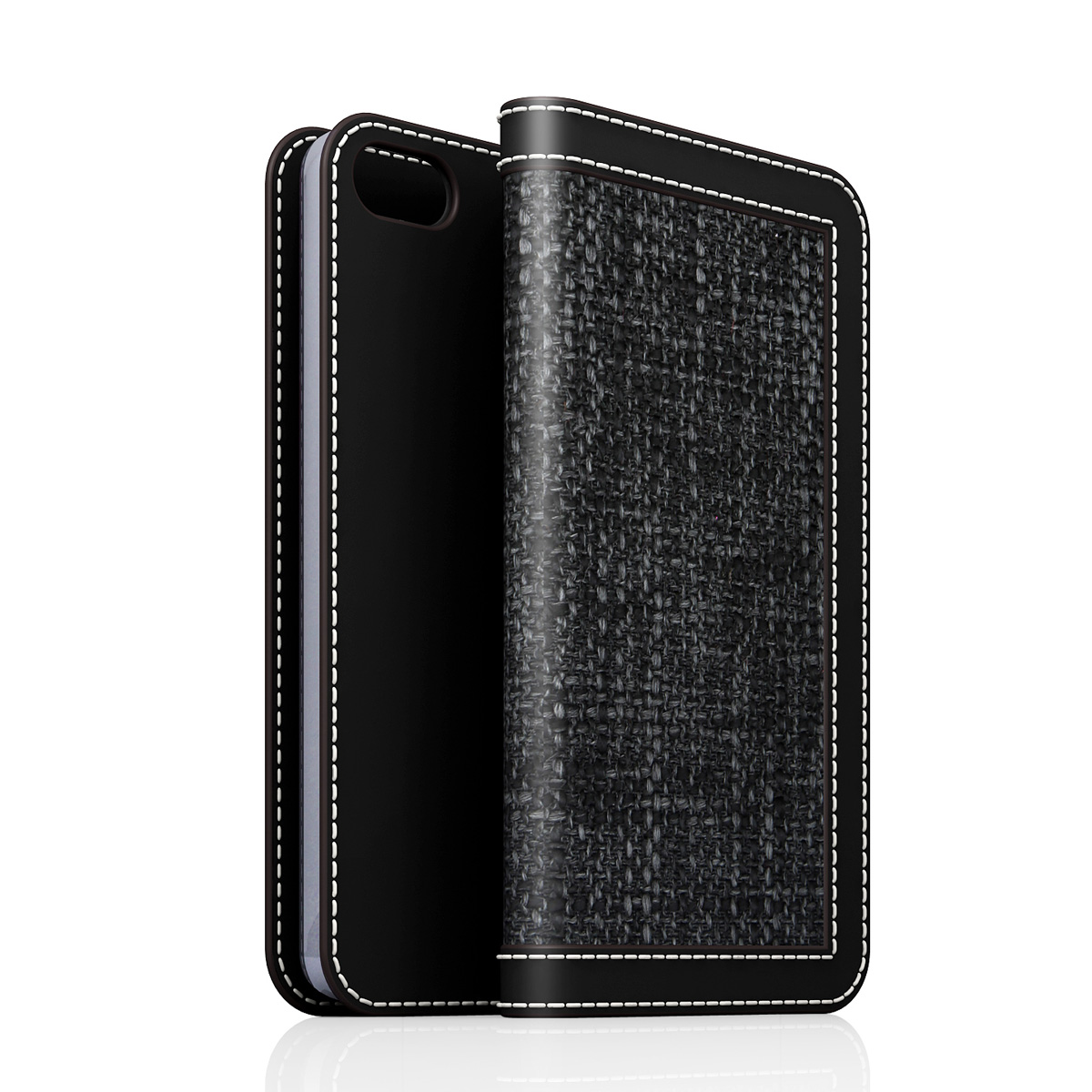 [iPhone5/5s] D5 Edition Calf Skin Leather Diary ブラック