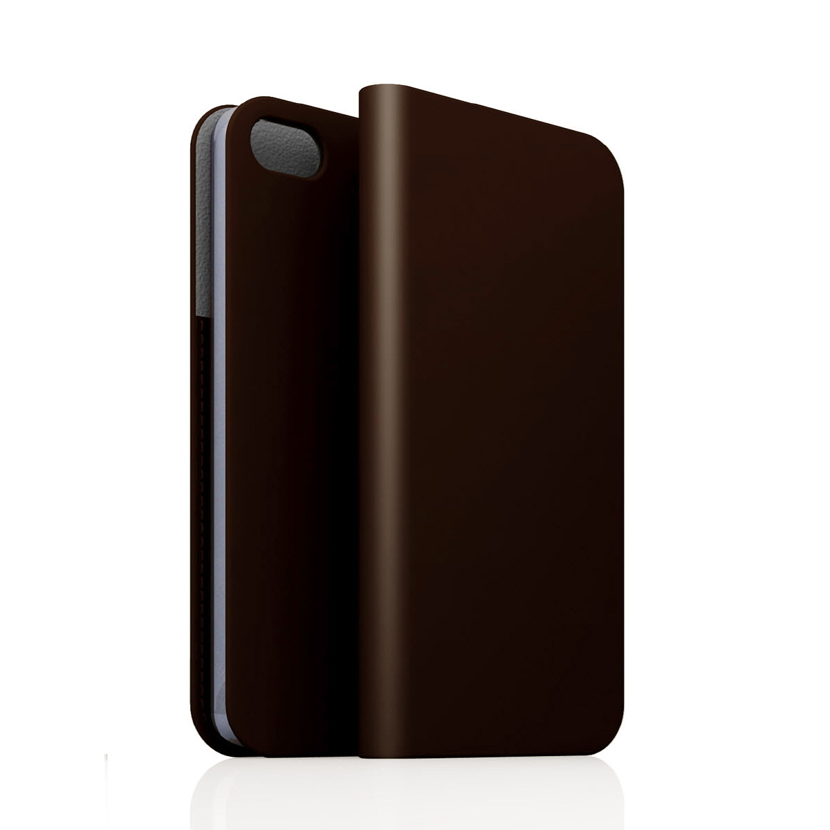 [iPhone5/5s] D5 Calf Skin Leather Diary ダークブラウン