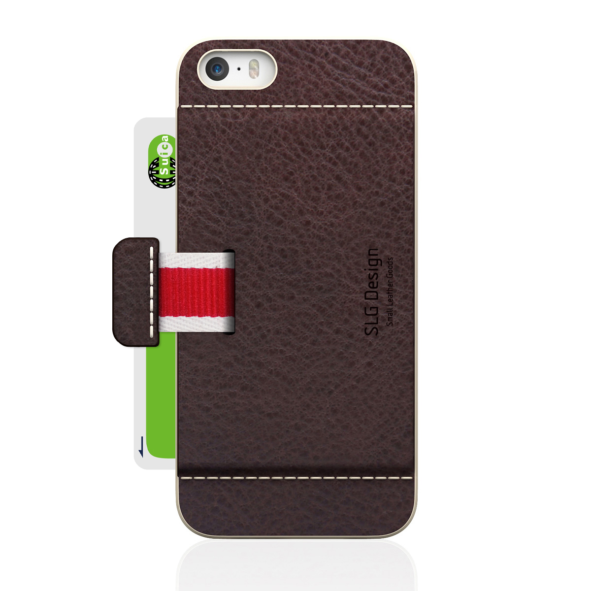 [iPhone5/5s] D6 Italian Minerva Box Leather Card Pocket Bar チョコ
