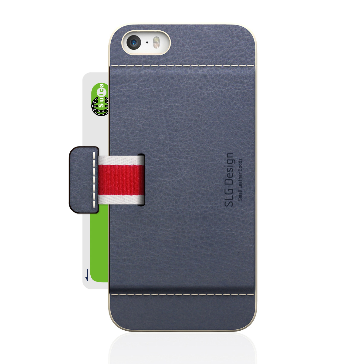 [iPhone5/5s] D6 Italian Minerva Box Leather Card Pocket Bar グレー