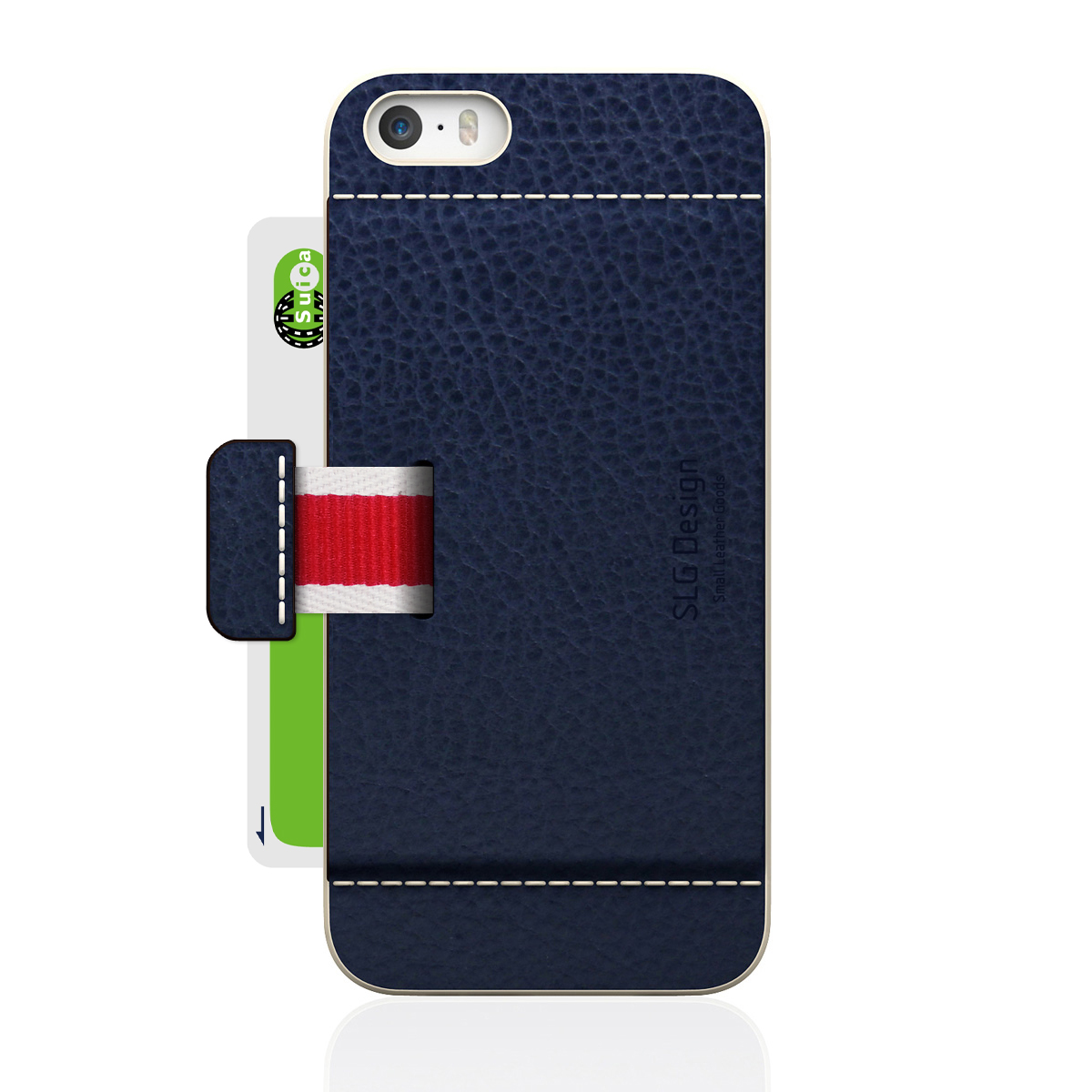 [iPhone5/5s] D6 Italian Minerva Box Leather Card Pocket Bar ネイビー