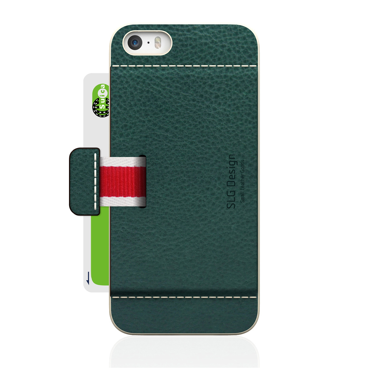 [iPhone5/5s] D6 Italian Minerva Box Leather Card Pocket Bar オリーブ