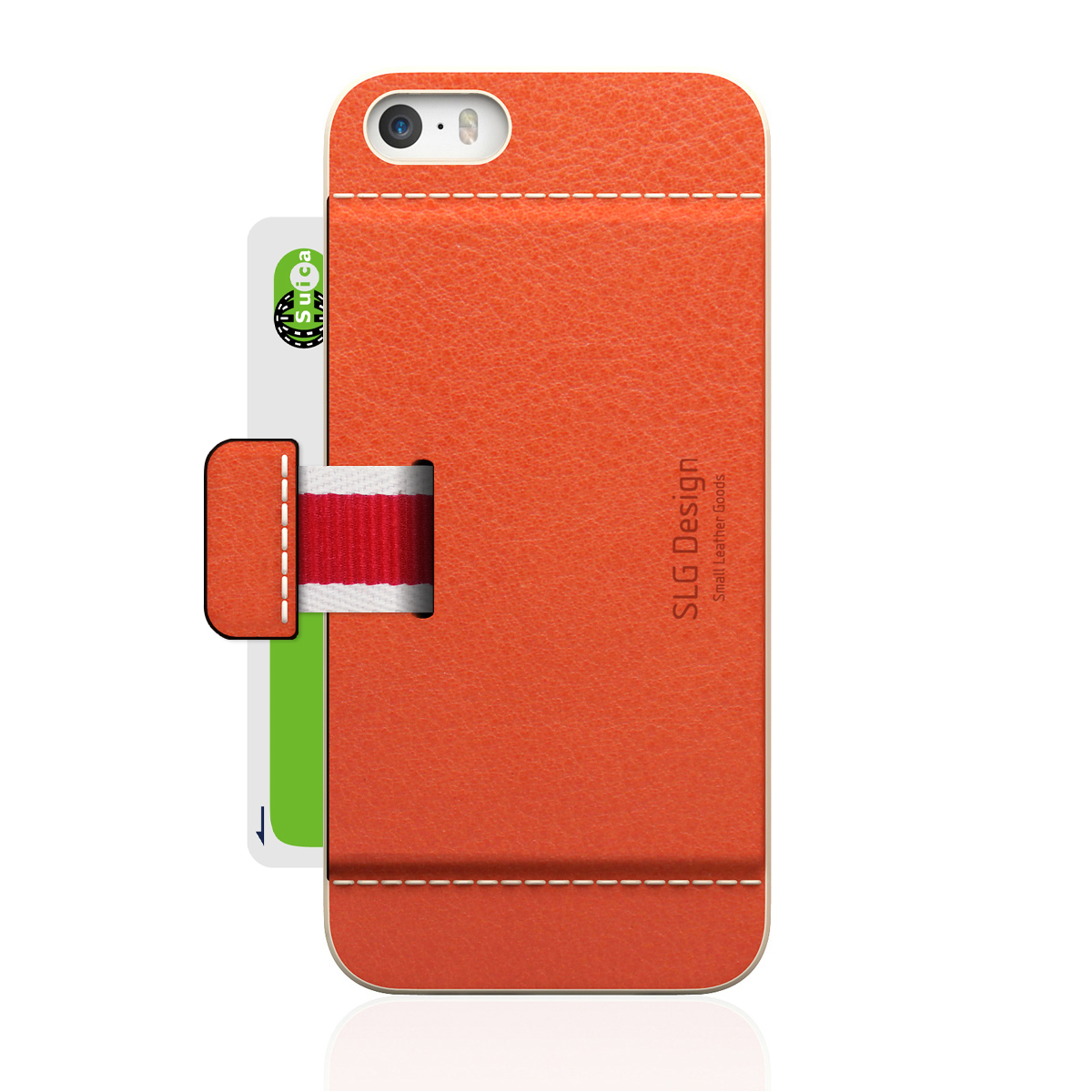 [iPhone5/5s] D6 Italian Minerva Box Leather Card Pocket Bar オレンジ