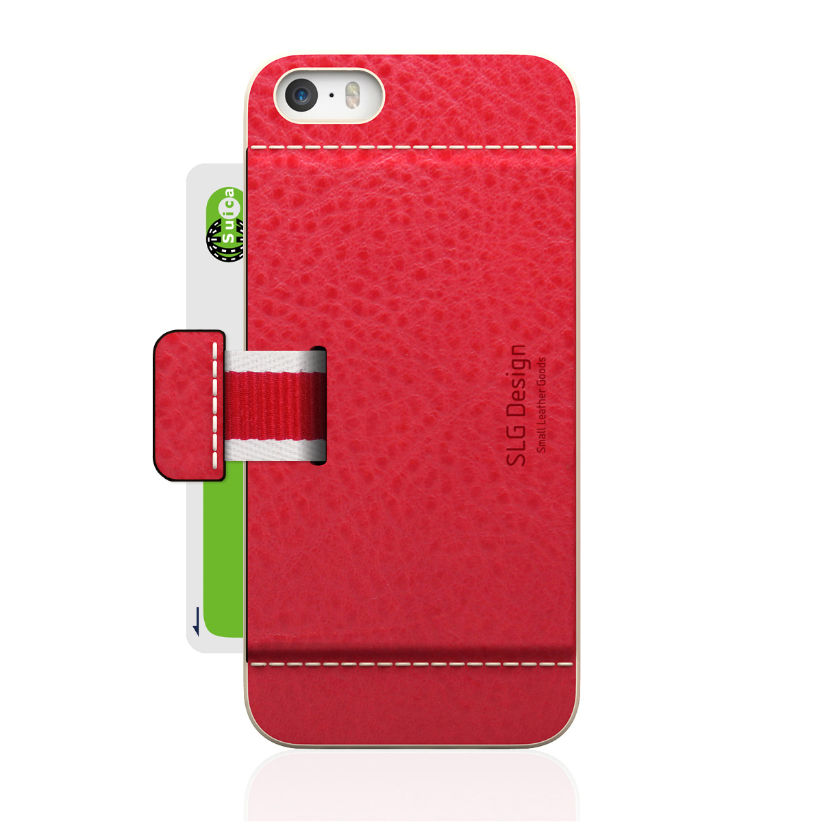 [iPhone5/5s] D6 Italian Minerva Box Leather Card Pocket Bar レッド