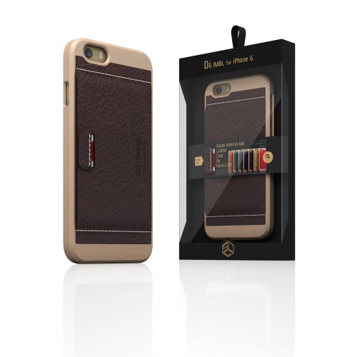 【iPhone6ケース】  SLG Design D6 Italian Minerva Box Leather Card Pocket Bar チョコ