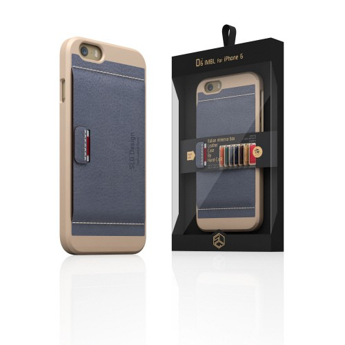 【iPhone6ケース】 SLG Design D6 Italian Minerva Box Leather Card Pocket Bar  グレー
