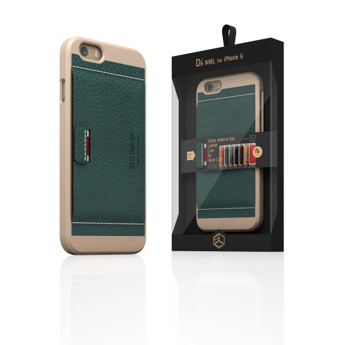 【iPhone6ケース】 SLG Design D6 Italian Minerva Box Leather Card Pocket Bar  オリーブ