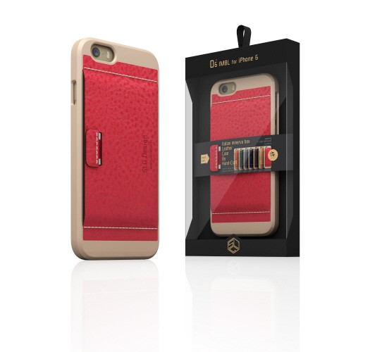 【iPhone6 ケース】  SLG Design D6 Italian Minerva Box Leather Card Pocket Bar レッド