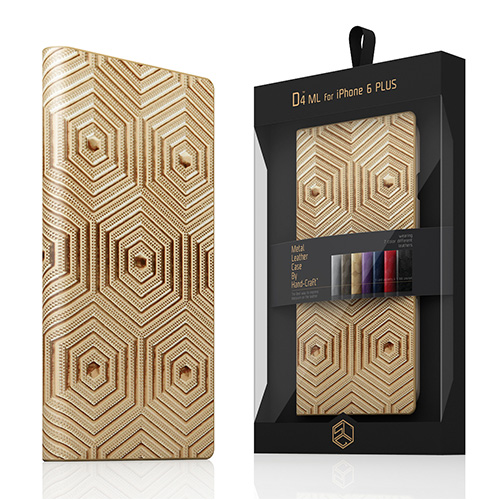 【iPhone6s Plus/6 Plus ケース】SLG Design D4 Metal Leather Diary ゴールド(D4 メタルレザーダイアリー)